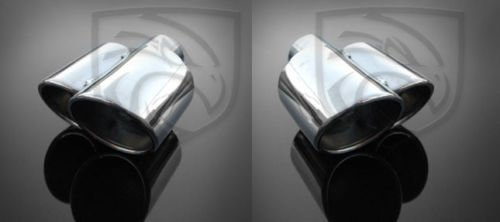 (Exhaust Tip Dual Fused Oval Rolled Edge Porsche Turbo Style (Left and Right Side) 2.25