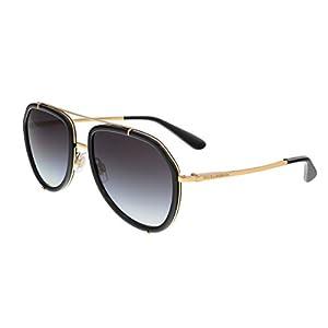 Dolce & Gabbana Women's Metal Woman Aviator Sunglasses, Black/Gold, 55 mm