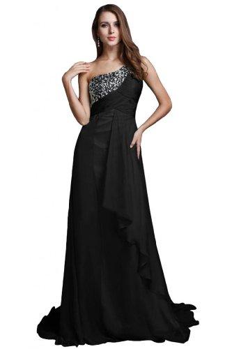 Una in Fashion lungo vestito sera abito Black Sunvary Chiffon da spalla 1g5xOOnw