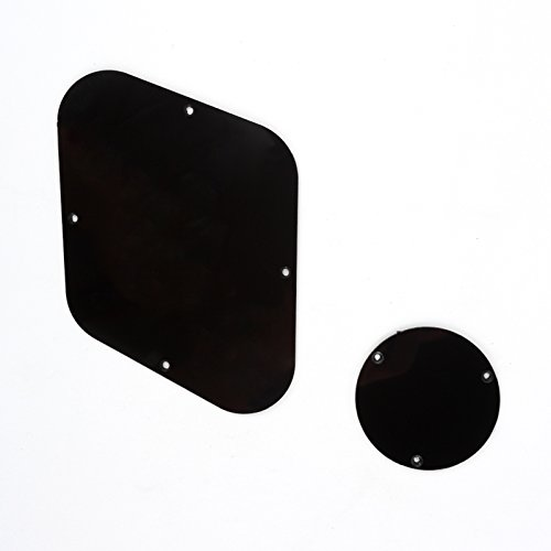 Custom Gibson Guitar Les Paul (Musiclily LP Backplate and Control Switch Cavity Cover Plate Set for Gibson USA Les Paul Standard Guitar,1Ply Black)