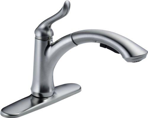 Delta Faucet 4353-AR-DST Linden Single Handle Water-Efficient Pull-Out Kitchen Faucet, Arctic Stainless (Delta Kitchen Faucet Spout compare prices)