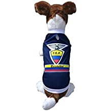 Dog Soccer Jersey Ecuador (Large) -Pet T-shirt- Made of Great 100% Polyester-breathable Fabric-makes Dog Comfortable-cozy up Costume to Celebrate Your Country Tradition-enjoy Your Football Team Passion-best Quality Jersey to Share Every Game with Your Puppy.