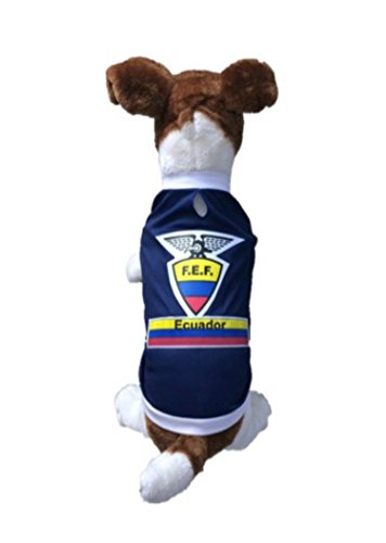 [Dog Soccer Jersey Ecuador (Medium) -Pet T-shirt- Made of Great 100% Polyester-breathable Fabric-makes Dog Comfortable-cozy up Costume to Celebrate Your Country Tradition-enjoy Your Football Team Passion-best Quality Jersey to Share Every Game with Your] (Ecuador National Costume For Men)