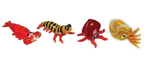 Looking Glass Miniature Collectible - Lobster / Prawn / Squid / Nautilus (4-Pack) (Best Looking 4k Games)