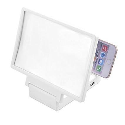 eDealMax plegable portátil altavoz incorporado lupa 3D de la pantalla de película HD Amplificador Blanca Para