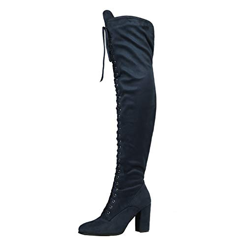 DREAM PAIRS Women's Hi-Lace Dark Blue Faux Suede Over The Knee Thigh High Boots Size 7.5 M -