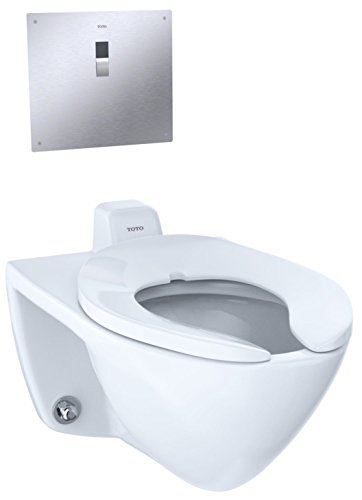 TOTO CT708UV#01 Elongated 1.0 GPF Wall-Mounted Flushometer Toilet Bowl with Back Spud, Cotton White-CT708UV