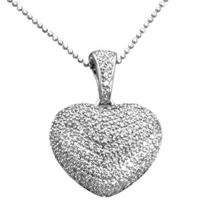 Amazon 14k white gold pave diamond puffed heart pendant with 14k white gold pave diamond puffed heart pendant with chain 100 ctw aloadofball Gallery