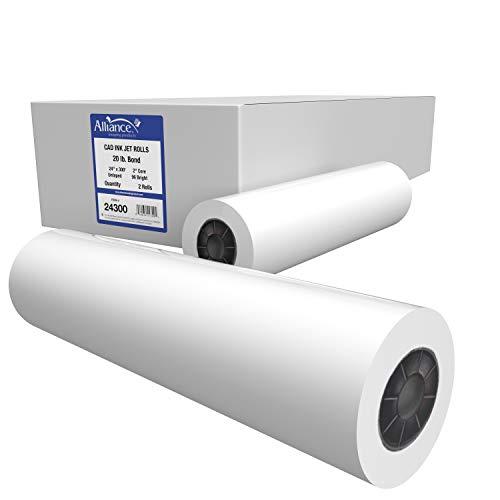 Alliance CAD Paper Rolls, 24 x 300, 96 Bright, 20lb - 2 Rolls Per Carton - Ink Jet Bond Rolls with 2 Core