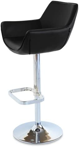 Zuri Furniture Black Pinot Adjustable Height Swivel Armless Bar Stool