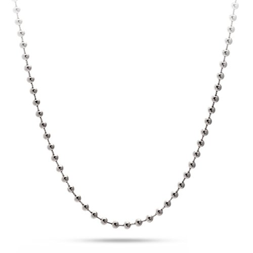 Unisex Sterling Silver 925 - 4MM Bead Chain - 36'' by GotJewelry