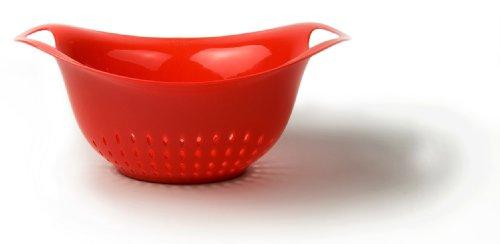 Architec Prep Colander, 4 Qt, Red, Dishwasher Safe BPA-free Plastic, Patented Non-slip Gripper Feet ()