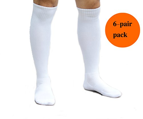 Athletic Over the Calf Compression Crew Socks for Mens and Boys, White (6/Pack) - Large (7 - 10)