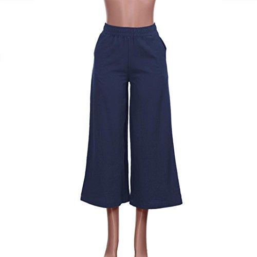 OWMEOT Womens Casual Loose Plus Size Elastic Waist Cotton Trouser Cropped Wide Leg Pants (Navy, XL)