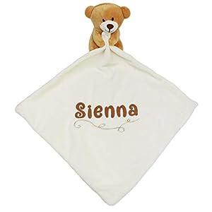 Personalised Baby Teddy Bear Comforter Blanket (Cream)