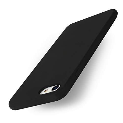 Yajuhoy iPhone 8 Case/iPhone 7 Case, Liquid Silicone Gel Rubber Case Soft Microfiber Cloth Lining Cushion Compatible with Apple iPhone 8 (2017) / iPhone 7 (2016) - Black