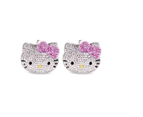 Kitty Rhinestone Earrings Hot Pink