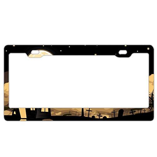 KSLIDS Halloween Bats Night License Plate Holder - Alumina License Plate Frame, License Tag Holder ()