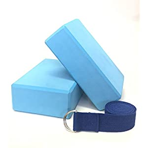 Yoga Block Set (2 Blocks and 1 Strap), Dense, Slip-Proof Blocks – Extra Long Yoga Strap