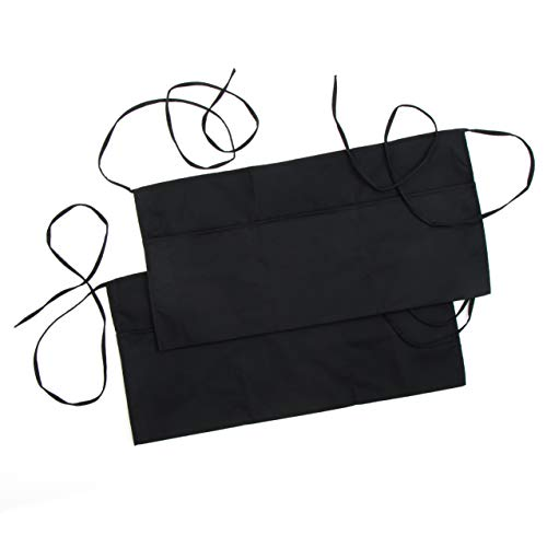 (Premium Black Waitress Apron, Waist Apron with 3 Pockets and Extra Long Ties (2 Pack) | Bistro Restaurant Style Half Apron for Men, Women, Servers, Waiter, Cook, Bartender, Commercial and Kitchen Use)