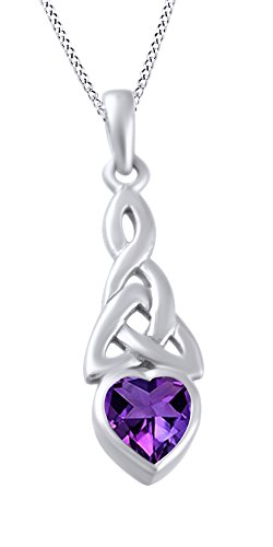 AFFY Trinity Heart Celtic Knot Pendant Necklace Simulated Amethyst 14K White Gold Over Sterling Silver