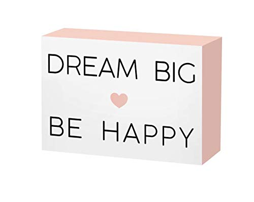 SANY DAYO HOME 7 x 5 inches Colorful Wooden Box Sign with Inspirational Saying for Home and Office Decor - Dream Big Be -