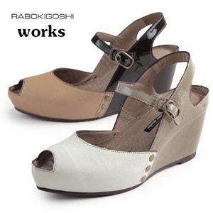 WH,ホワイト 25.0 RABOKIGOSHI works サンダル ラボキゴシ ワークス 靴 1226 ウエッジソール ストラップ