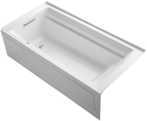 KOHLER K-1124-GLA-0 Archer 6-Foot BubbleMassage Bath, White - Bath 6' Whirlpool