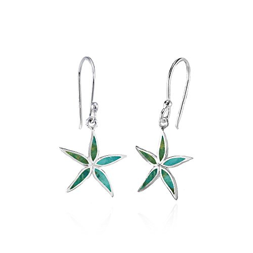 (Sterling Silver Simulated Turquoise Polished Flower Dangle Earrings)