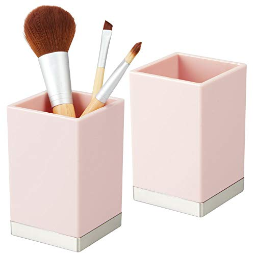 mDesign Modern Square Tumbler Cup for Bathroom Vanity Countertops - for Mouthwash/Mouth Rinse, Storing and Organizing Makeup Brushes, Eye Liners, Accessories - Slim Design, 2 Pack - Light Pink/Brushed