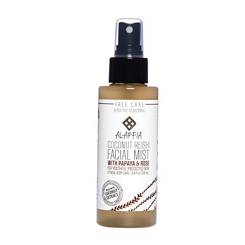 Alaffia - Coconut Reishi Facial Mist, Soothing Support to Restore and Balance Protective Layers of the Skin with Rose Hydrosol, Papaya, and Reishi Mushroom, Fair Trade, Toning Coconut, 3.4 Ounces