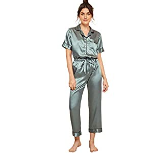 Milumia Women's Pajamas Set Button Down Sleepwear Short Sleeve Nightwear Pants Loungewear