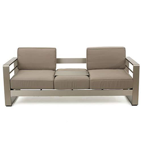 GDF Studio 299431 Crested Bay Outdoor Aluminum Khaki Sofa with Tray ()