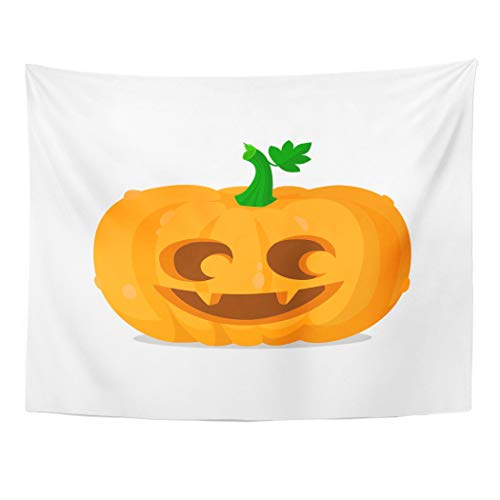 Tarolo Decor Wall Tapestry Orange Eyes Halloween Pumpkin Happy Autumn Carving Celebration Cute 80 x 60 Inches Wall Hanging Picnic for Bedroom Living Room Dorm