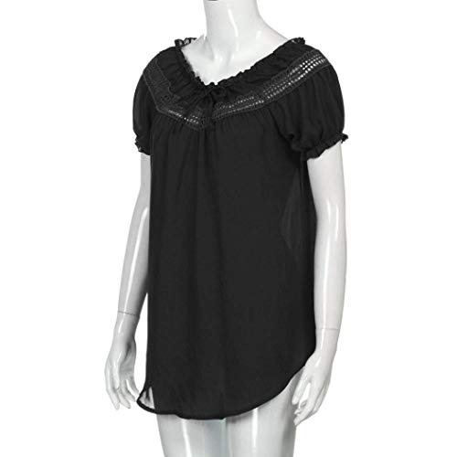 Manche Chic Casual T Elgante Printemps Irrgulier Schwarz Haut Courtes Manches Bandage Splicing Tshirts BOLAWOO Femme Col Uni Mode Shirts Bouffant Creux Chemise Rond Chemisiers A8vdwF1