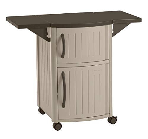 (Suncast Outdoor Grilling Prep Station - Portable Outdoor BBQ Entertainment Storage Table Prep Station - Store Grilling Accessories, Condiments - Taupe and Brown)