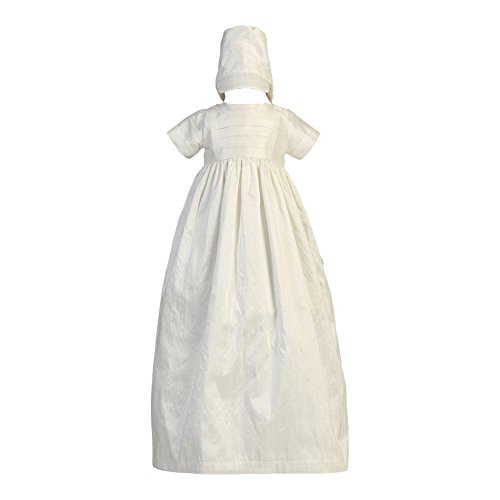 Lito Baby Girls Boys White Silk Heirloom Gown Bonnet Set Baptism Set 12-18M