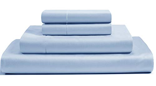 500 Thread Count Cotton Sheets Set - 100% Pima Cotton Pure Sateen Weave Long Staple Ultra Soft 4 Piece Bed Sheet Sets, Solids and Stripes Fits 18