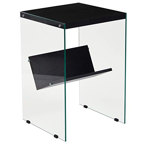 Flash Furniture Highwood Collection Dark Ash Wood Grain Finish End Table with Shelves and Glass Frame