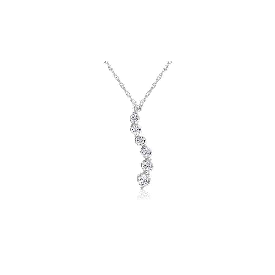 AGS Certified 1/2ct TW Journey Diamond Pendant Necklace in 10K White Gold