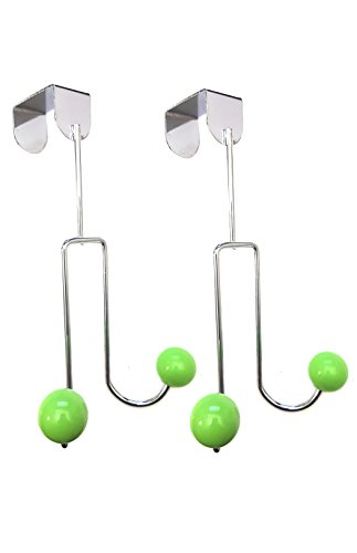 2 sets Over the Door Dual Hook Rack Organizer Hooks for Coats, Hats, Robes, Towels - 2 Hooks, Chrome by Smartsaver