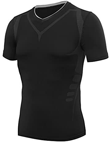 b7295c86db0 AMZSPORT Camiseta de compresión de Mangas Corta para Hombre Deportes de  Secado Rápido Funcionamiento Baselayer