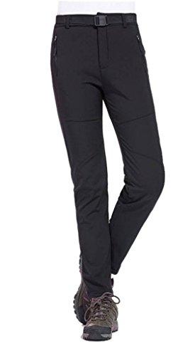 Geval Women's Outdoor Windproof Waterproof Softshell Fleece Snow Pants (S,Black) by Geval