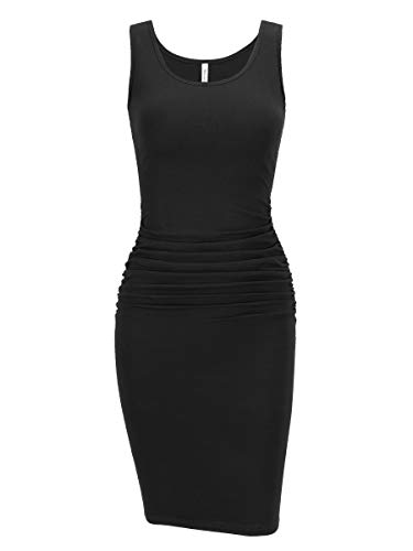Petite Little Black Dress - Missufe Ruched Sundress Leith Ruched Bodycon Black Petite Midi Fitted Summer Tank Sleeveless Dresses for Women (Sleeveless Black, X-Small)