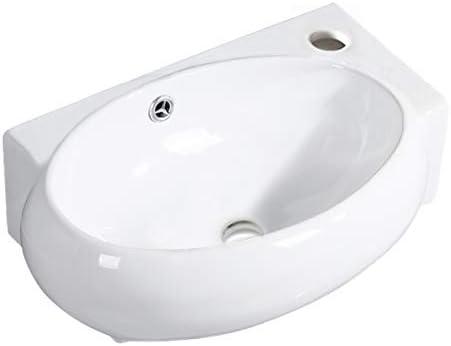 Lavabo Acro Compact.Gimify Lavabo Pequeno De Pared Compacto Lavamanos Ceramico Blanco Para Bano Ovale 420 280 145mm