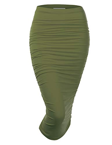 Doublju Womens Slim Fit Ruched Long Pencil Skirt with Plus Size Olive Large