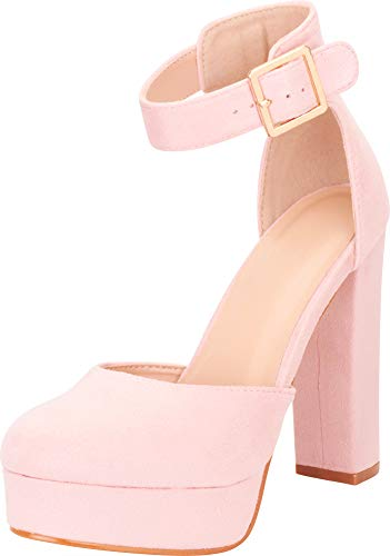 Cambridge Select Women's Buckle Thick Ankle Strap Chunky Platform High Heel Pump (8 B(M) US, Blush IMSU)
