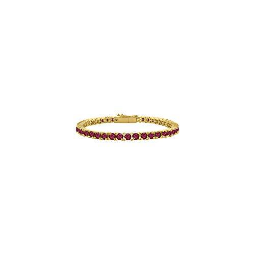 Created Ruby Tennis Bracelet in 18K Yellow Gold Vermeil. 10CT. TGW. 7 ()