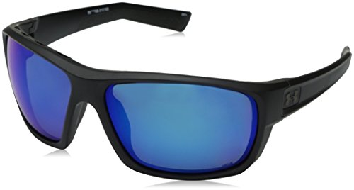 Under Armour Men's Launch Round Sunglasses, (ANSI) Satin Black Frame/Gray Polarized Lens/Blue MULTIFLECTION W/UA Storm, 64 mm