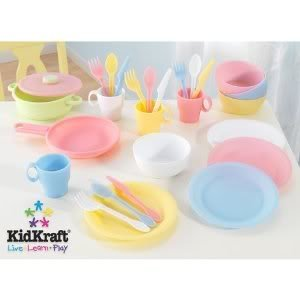 Toy / Game 27 Pc Cookware Playset - Pastel - Blast Cooking And Serving Food During Dramatic Role Play!